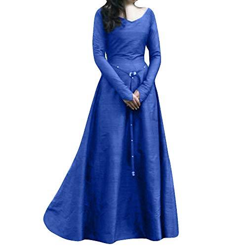 50 s Vintage Chiaro Vestito Autunno Da Abito Donna Manica Innerternet Festa  Lunga Blu Eleganti FBwqIx 8d2e6966781