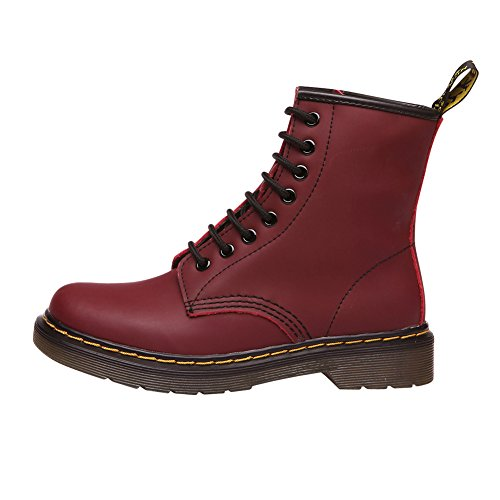 Lined Women's fereshte Boots Unisex Genuine Couple Motorcycle Fleece Bootie Martin Boot Ankle Leather Cherry Mens EBqwB0