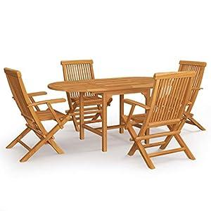 vidaXL Bois de Teck Massif Salon de Jardin 5 pcs Ensemble de Salle à Manger Table et Chaises à Dîner Mobilier de Repas…