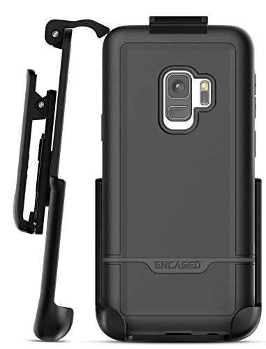 Galaxy S9 Belt Case, Encased [Rebel Series] Rugged Tough Case with Secure Clip Holster for Samsung Galaxy S9 (2018 Release) Military Spec Armor Protection (Smooth Black)