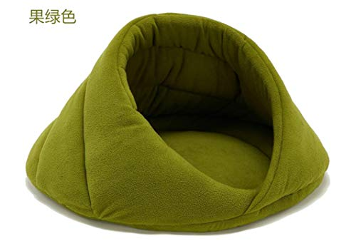 longing-summer Warm Dog Bed Pet Dog House Lovely Soft Suitable Cat Dog Bed House for Cat and Small Large Dogs Teddy Kennel,Green,42x42x30cm