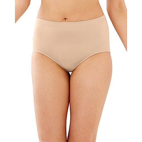 Bali Women's 3-Pack Solid Microfiber Full Brief Panty,P2H-3 Light Beige,7