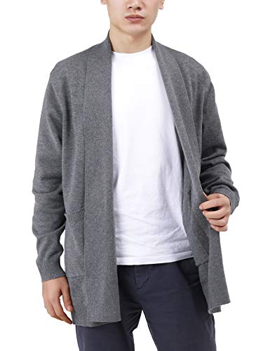 FISOUL Mens Cable Knit Ribbed Sweater Shawl Collar Open Front Long Sleeve Winter Thick Cardigan