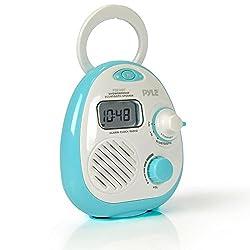 Pyle - Shower Radio Waterproof Wireless Bluetooth Music Shower Alarm Clock Radio Speaker with AM FM Tuner (PSR16BT)