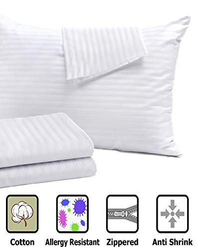 Pillow Protectors King 4 Pack 20x36 Inches Pillow Cases Covers ❤️ Reduces Allergies ❤️White Hypoallergenic Premium High 200 300 Thread Count Cotton Sateen Set Zippered Hotel Quality