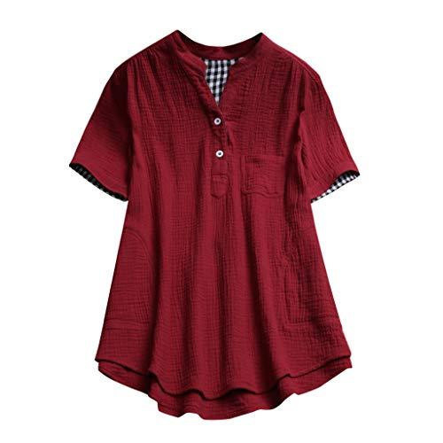 Summer Plus Size Tops Tronet Women Stand Collar Pocket Lattice Loose Tunic Cotton Linen t-Shirt Casual Blouse Tops