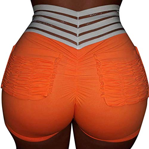 Botrong Womens High Waisted Shorts Workout Yoga Tummy Control Ruched Butt Fitness Shorts (Orange,M)]()