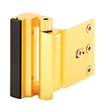 "Defender Security U 10826 Door Reinforcement Lock – Add Extra, High Security to Your Home and Prevent Unauthorized Entry – 3"" Stop, Aluminum Construction (Gold Anodized Finish)"