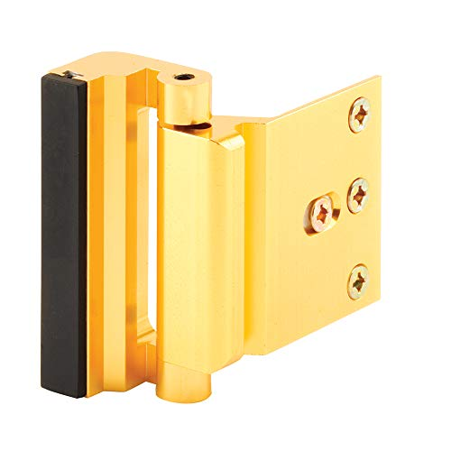 "Defender Security U 10826 Door Reinforcement Lock – Add Extra, High Security to your Home and Prevent Unauthorized Entry – 3"" Stop, Aluminum Construction (Gold Anodized - Landlord Locks"