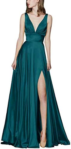 Naxy Prom Dresses Long Spandex Satin Side High Slit Evening Gowns Party Dresses with Pocket for Women Green Size08