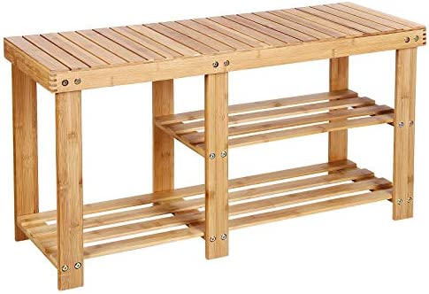 SONGMICS 100 Bamboo Shoe Rack Bench,3-tier Entryway Storage Organizer with Seat, Shoe Shelf for Boots,Ideal for Hallway Bathroom Living Room Corridor Kitchen and Garden Natural ULBS06N