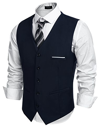 COOFANDY Men's Fashion Formal Slim Fit Business Dress Suit Vest Waistcoat,Navy Blue,Large ( Chest: 45.3