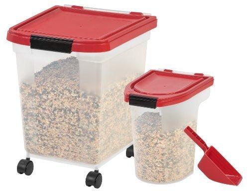 IRIS 3-Piece Airtight Pet Food Storage Combo, Garnet Red by IRIS USA