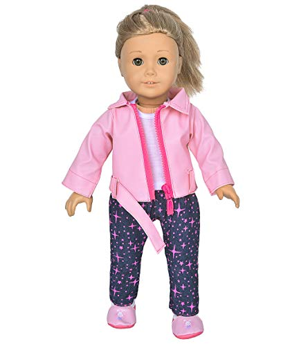 Deluxe Leather Jacket (ebuddy 4pc/Set Deluxe Scooter Leather Jacket Vest Pants and Shoes for 18 inch American Girl,43cm New Born Baby Dolls,OG Dolls)