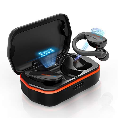 Bluenin Wireless Earbuds Bluetooth 5.0 Headphones with Charging Case LED Battery Display 136H Playtime TWS aptX Stereo Headset IPX7 Waterproof Sport Earphones CVC8.0 Noise Cancelling Mics (Black)