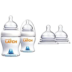 Munchkin Latch BPA-Free Baby Bottle, 4 Ounce, 2 Count with Stage 2 Nipples