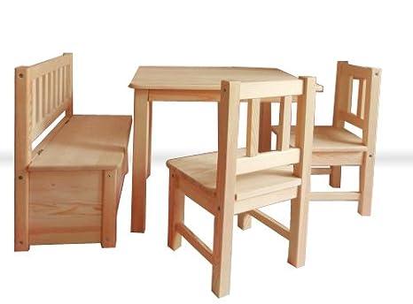 Tavolini In Legno Per Bambini : Mut set con tavolino sedie cassapanca per bambini in