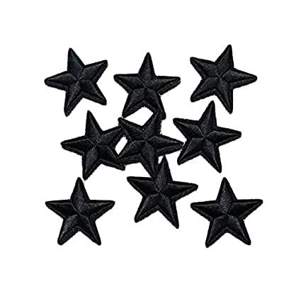 20 Pcs Black Star Star Iron On Patches Sew On Embroidered Badge Applique Patch with Star Motif Applique Stickers DIY for Shoes,Hats,Clothes