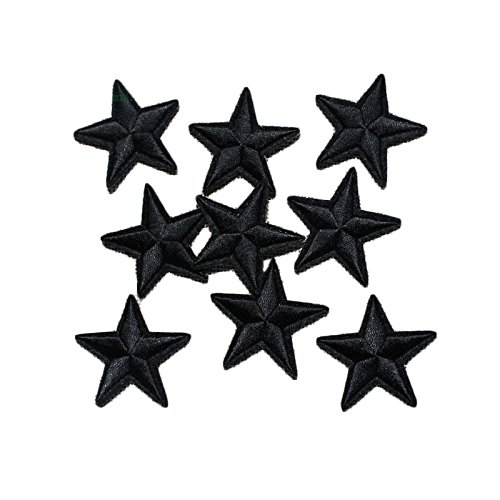 Yalulu 20Pcs Black Star Embroidered Iron On/Sew On Badge Applique Patch for DIY Clothing Jeans Hat 4337010902
