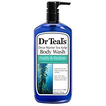 Dr Teal s Deep Maritime Hydrating Sea Kelp Body Wash with Epsom Salts and Essential Oils 24 Ounce- 4 Pack