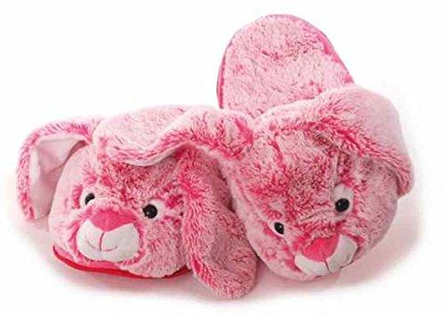 Hausschuhe Hase, pink/weiß, Größe S = 35-37, Pantoffeln, Puschen