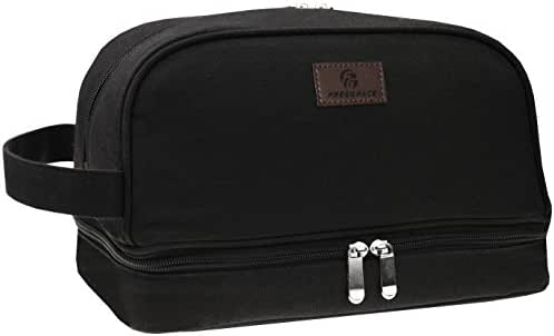Canvas Toiletry Bag - Large Dopp Kit For Men & Women - The Perfect Travel Essentials Organizer – Ideal For Cosmetics, Personal Items, Shaving Sets, Shampoo, Body Wash & More
