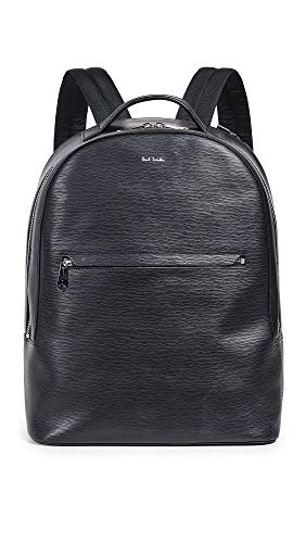 Paul Smith Men's Embossed Leather Backpack, Black, One -