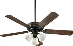 Quorum International 77525-1886 Capri VI 52-Inch 3 Light  Ceiling Fan, Oiled Bronze Finish with Linen Glass  Light  Kit and Reversible Blades