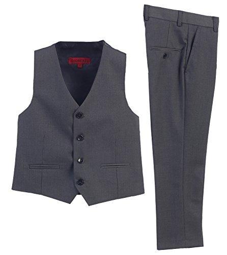 - 2 Piece Kids Boys Charcoal Vest and Pants Formal Set, 6