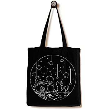 a58873fa5a Andes Heavy Duty Canvas Tote Bag with 2 Inside Pockets, Handmade from  12-ounce Cotton, Perfect for Shopping, Laptop, School Books, Little Prince  Black