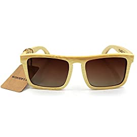 Bamboo Sunglasses,100% Hand Made Wooden Sun Glasses,Men Women Wood glasses 11 Glasses frame is real natural bamboo material and metal hinges.No plastic components. The sunglasses is light and can float in water,Because of the porous nature of bamboo. They're made with actual bamboo, so every pair is different.