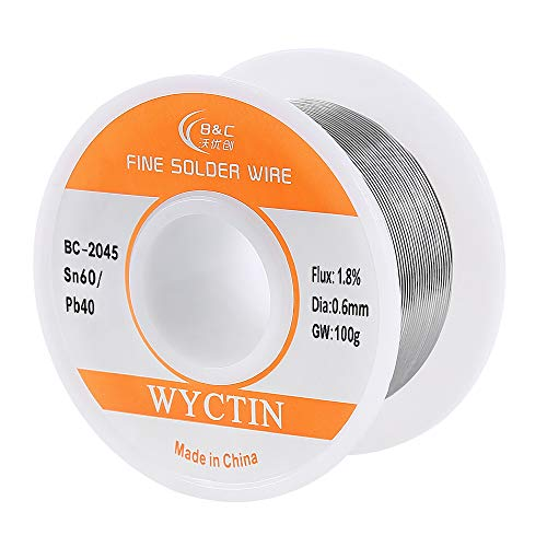 WYCTIN Diameter 0.6mm 100g 60/40 Active Solder Wire With Resin Core for Electrical Repair Soldering - Guitar 60w