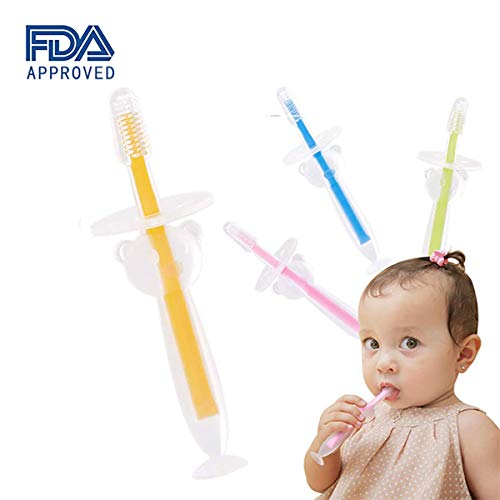Baby Toothbrush Set (4 Pack) by BOLOLO, Infant Training Tooth Brush Age 2-4, BPA Free, Safety Cover Design
