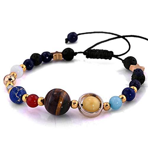 iZasky Bead Bracelet & Bangle Adjustable 1Pcs - Universe Galaxy Eight Planets in The Solar System Guardian Star Lava Natural Stone for Women Men