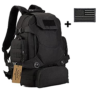 ArcEnCiel® Military Army 40L Tactical Transform 3 Way Outdoor Waist Backpack Camping Hiking Trekking Interlayer Pouch EDC School Rucksacks Bag with Patch