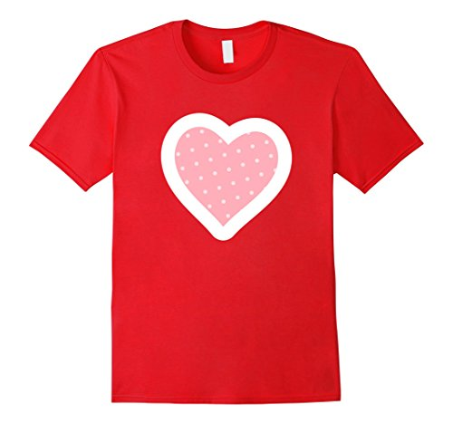 Mens Cute & Unique Polka Dot Heart Valentine's Day T-Shirt & Gift Large Red Polka Dot Heart T-shirt