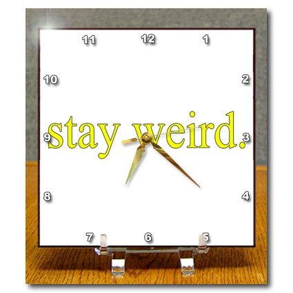 dc_173424_1 EvaDane - Funny Quotes - stay weird. Yellow. - Desk Clocks - 6x6 Desk Clock