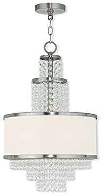 "Livex Lighting 50784-91 Brushed Nickel Chandelier with an Off-White Sheer Organza Shade, 13.75"" x 13.75"" x 22"""