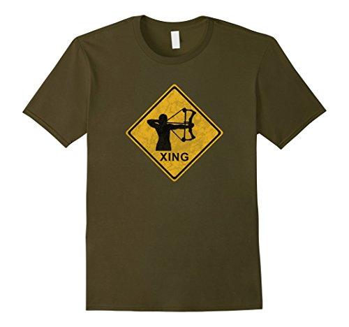Mens Bow Hunter Deer Crossing Xing - T-Shirt 3XL ()