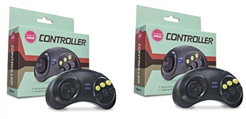 Video Game Accessories 2 X (2.PIECES) 6 BUTTONS GAME CONTROLLER FOR SEGA GENESIS BLACK COLOR