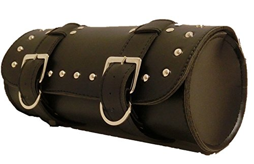 Studded Leather Pouch Tool (American type tool bag studded leather motorcycle touring round (black))