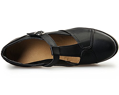 DADAWEN Women's Classic T-Strap Platform Mid-Heel Square Toe Oxfords Dress Shoes Black US Size 9 by DADAWEN (Image #6)