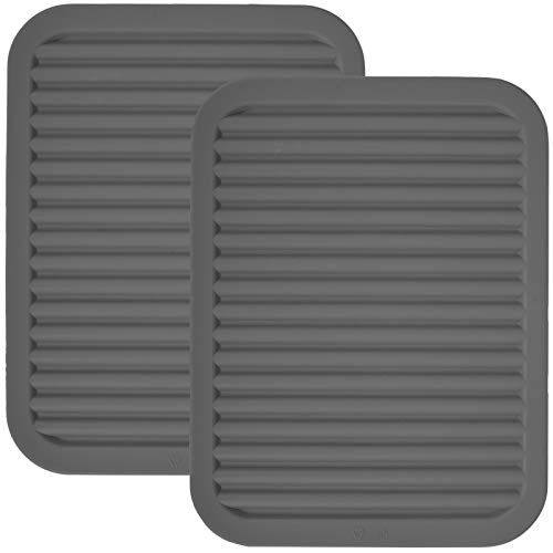 dealcase 9″ x 12″ Silicone Pot Holder, Trivet Mat, Baking Gadget Kitchen Table Mat, Silicone Drying Mat – Waterproof, Heat Insulation, Insulated, Non-Slip, Tableware Pad Coasters (Grey – 2 Pack)