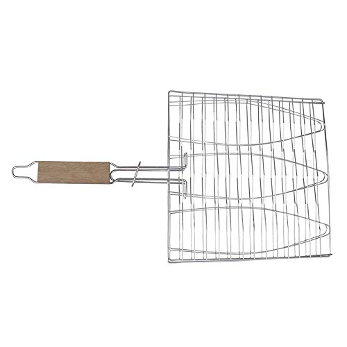 Triple Fish Basket - Non-Stick Triple Fish Grilling Basket Wood Handle Fish Grill Net BBQ Accessories