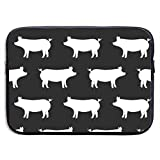 Just Pigs - Black 13-15 Inch Laptop Sleeve Bag Portable Dual Zipper Case Cover Pouch Holder Pocket Tablet Bag,Water Resistant,Black