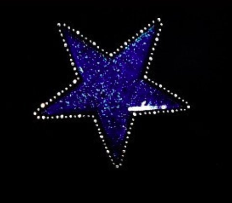 Star - Blue - Sequin and Rhinestone Iron on Transfer