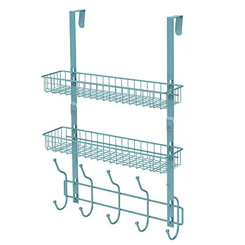 Neala Over The Door Hook 5 Double-Row Hooks & 2 Baskets Metal Shelf Hanger Door Hook 2 Tier Storage Rack for Coats, Towels, Bags (Aqua Blue)