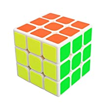 Speed Cube 3x3x3 Layer Rubix Magic Puzzle Speed Cube Brain Teaser Durable Smooth Twisty Proffessional Classic Colorful Portable For Adults International Competition Instruction Education (Speed Cube, White)