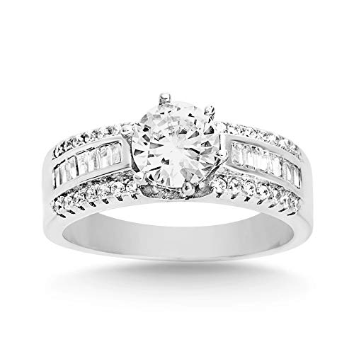 Cubic Zirconia Rhodium Brass Ring - Mia Sarine Baguette and Round Cubic Zirconia Engagement Ring for Women in Rhodium Plated Brass Size 8