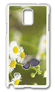 MOKSHOP Adorable butterfly daisies Hard Case Protective Shell Cell Phone Cover For Samsung Galaxy Note 4 - PC White